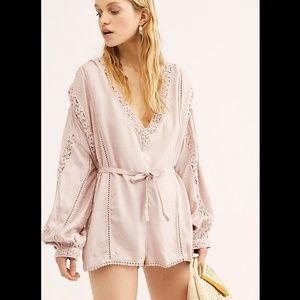 Free People Pink I Meant It Crochet Romper Large